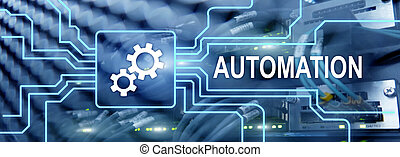 Automation productivity increase concept. Technology Process on a server room background