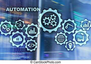 Automation productivity increase concept. Technology Process on a server room background.