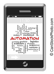 Automation Word Cloud Concept on Touchscreen Phone
