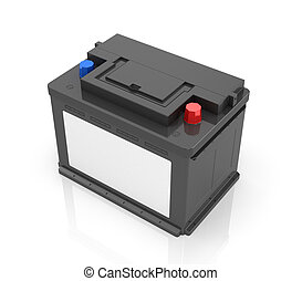 Automobile Batteries isolated on white background. 3D image.