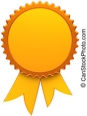 Award ribbon golden blank. Medal icon of winner with copy-space template design element. This is a high quality three-dimensional render cgi. Isolated on white background