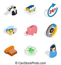 Awareness icons set, isometric style