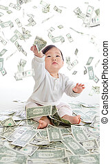 baby catch money rain in the air