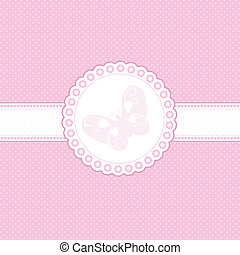 Decorative background in shades of baby pink with butterfly design
