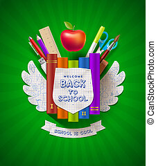Back to school - vector coat of arms with stationery items