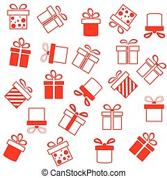 Background of red presents boxes