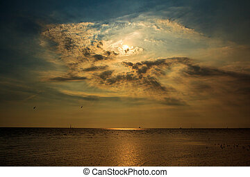 Background Sunset / sunrise with clouds,
