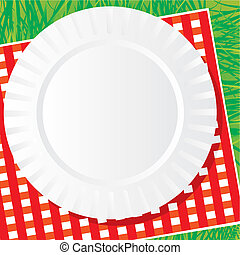 background vector image of a plastic dish for a picnic on a napkin and grass