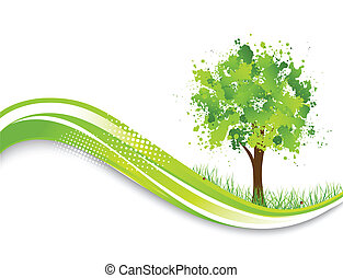 Background with abstract green tree