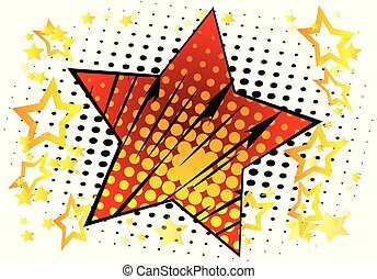 Background with big star filled with comic book effect.