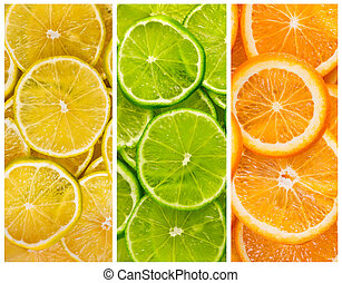 Background with citrus-fruit of lime. lemon and orange slices