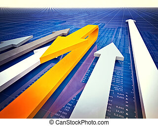 3d image of arrows and financial chart