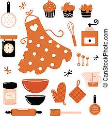 Baking icons or accessories set isolated on white ( orange )