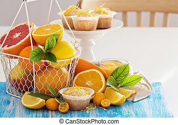 Baking with citrus fruits victoria sponge cake