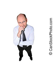 Bald businessman wearing glasses