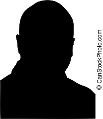 silhouette of middle age bald man