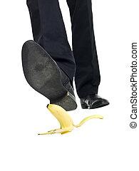 Banana peel slip isolated on white background