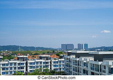 Bandar Seri Putra, Malaysia - June 3, 2021  Suburban neighbourhood during the Movement control order lockdown.