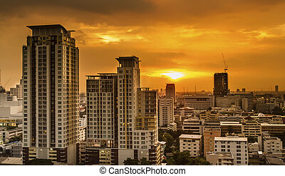 Bangkok city on sunset