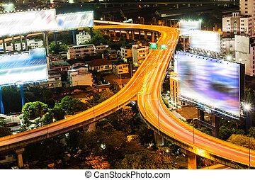 Bangkok city with main traffic at night