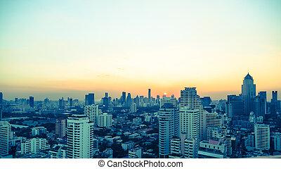 Bangkok skyline at sunset Panorama