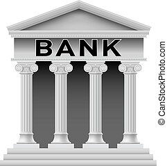 Icon of Bank building. Illustration on white background for design