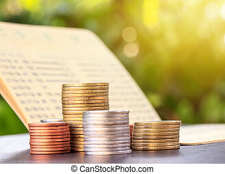 Bank statement with Stacks of coins, investment and saving concept