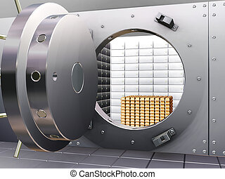 Open bank vault with gold bars inside