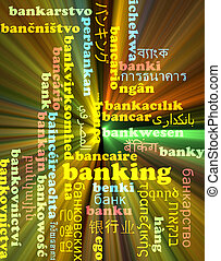 Banking multilanguage wordcloud background concept glowing