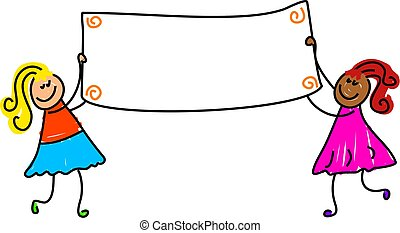 little girls holding up a banner - just add text - toddler art series