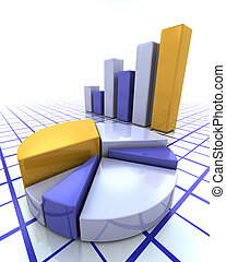 3D render of a bar chart and pie chart