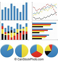 A set of bar charts and pie charts to show statistic and report.