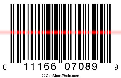 Scanning a barcode on a white background with a red laser scanner