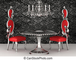 Baroque chairs. Royal interior. Wallpaper.