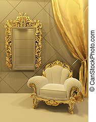 baroque furniture in a luxurious interior