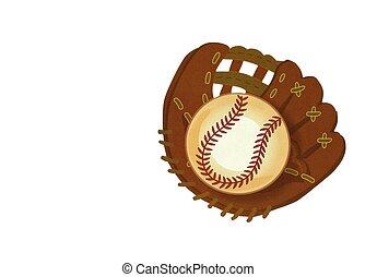 baseball glove with ball isolated