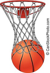 Illustration of a basketball going through a basketball net to score.