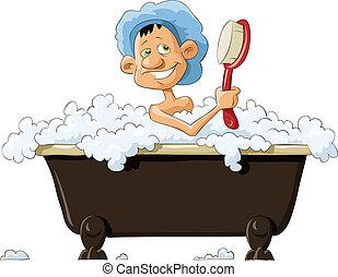 A man taking a bath, vector illustration