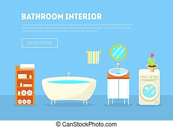 Bathroom Interior Banner Template with Furniture and Accessories Vector Illustration