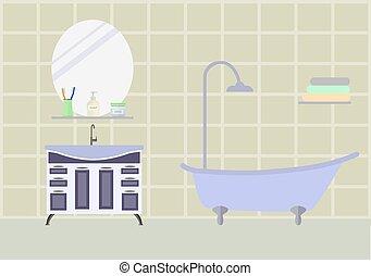 Bathroom room with furniture