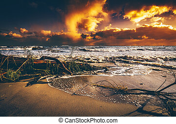 Beach after storm at sunset.