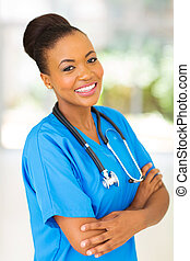 beautiful afro american female medical intern in modern office
