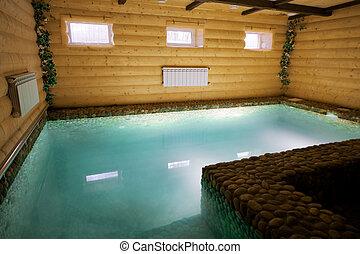 pool in a wooden sauna