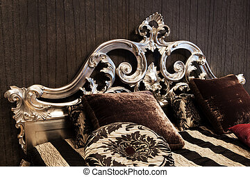 beautiful and fashionable bed in a modern bedroom
