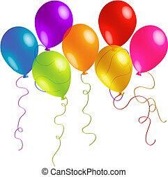 Seven beautiful birthday balloons with long ribbons.