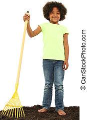 Beautiful Black Girl Child with Rake Standing in Dirt