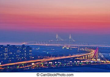 Beautiful bridge in South Korea, Incheonbridge, sunset