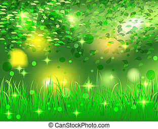 beautiful bright abstract background forest with green leaves and grass