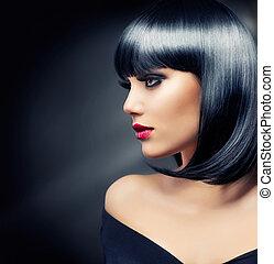 Beautiful Brunette Girl. Healthy Black Hair