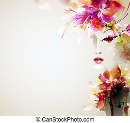 Beautiful fashion women with abstract design elements
